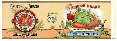 GRIFFON Brand, Dill Pickles, Griffin **AN ORIGINAL 1910's TIN CAN LABEL** 873