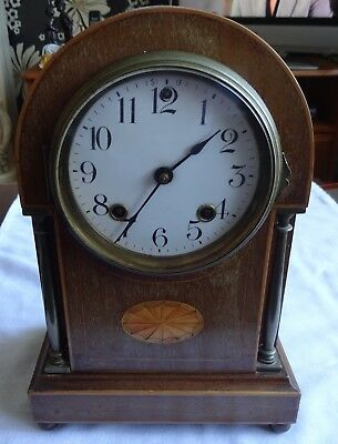 Early 20th Century Marquetry Inlaid Ansonia New York Striking Mantel Clock 11""