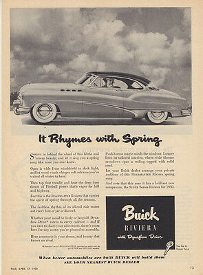 "1950 Buick Roadmaster Riviera Coupe photo ""Knows No Rival"" vintage print ad"