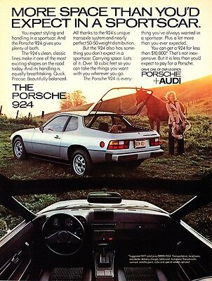 """1977 Porsche 924 Coupe photo """"More Space Than Expected"""" vintage print ad"""