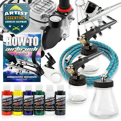 Airbrush Kit with 3 Airbrushes - Gravity Siphon Feed Air Compressor 6 Color Set