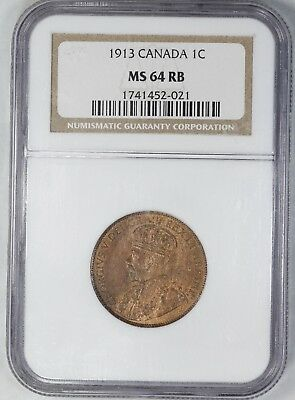 1913 Canada Penny Cent 1C Ngc Certified Ms 64 Mint State Red Brown Rb (021)