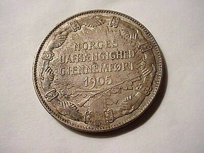 """Norway 1907 2 Kroner """"Border Watch"""" Lovely coin with natural toning!"""