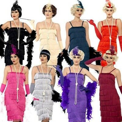 Adult 1920's Flapper Great Gatsby Ladies Fancy Dress Costume Sizes 8-24
