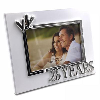 Double Heart 25th Silver Wedding Anniversary Photo Frame Gift 282535