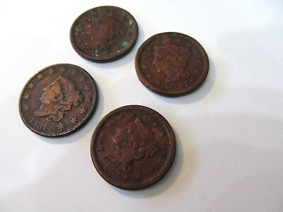 Four  Large United States Cents 3 Braided Hair One Cornett Head  1831 - 1853