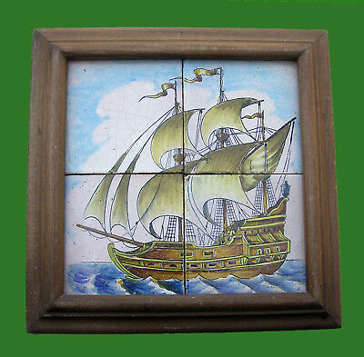 Vintage 4 Tiles Panel Spanish Caravel Boat Ship. Framed. Perfect Condition.