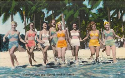 Water Nymphs on a Tropical Beach in Florida Bathing Beauty Linen Postcard 1950s
