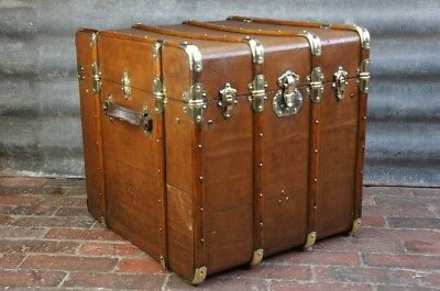 Magnificent Antique French Steamer Trunk Chest