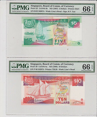 Singapore 1988/97 5/10$ ship series a pair match 74 end P-20/35 both PMG 66EPQ