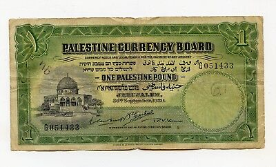 Palestine Currency Board, 1 Pound 1929, F - light pencil, ink obv - center hole