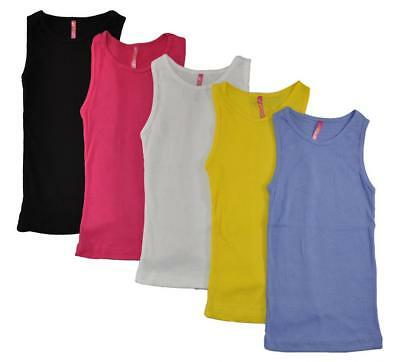 Cute 4 U Big Girls 5 Pack Assorted Color Tank Tops 100% Cotton