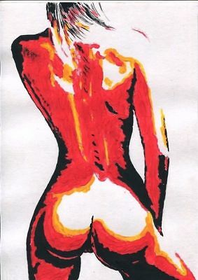Acrylic - Original Erotic Nude woman Drawing by Ihor(A4)
