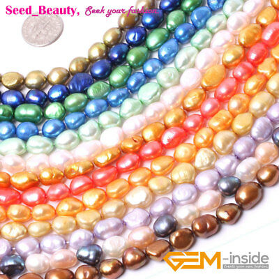 "8-9mm Freshwater Pearl Loose Beads for Jewelry Making Gemstone 15"" DIY Wholesale"