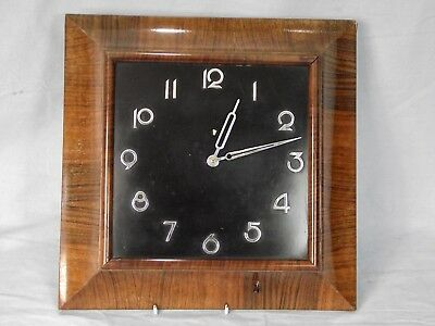 ART DECO WOODEN WALL CLOCK WITH CHROME NUMBERS, 1930s/40s