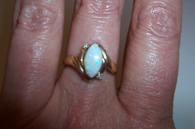 10k Yellow Gold Marquise Fire Opal Diamond ring size 6 1/2 Vintage