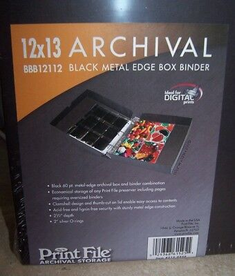"Print File Archival 12x13x2.5"" Metal-Edge 3-Ring Binder Box Black #215-0250"