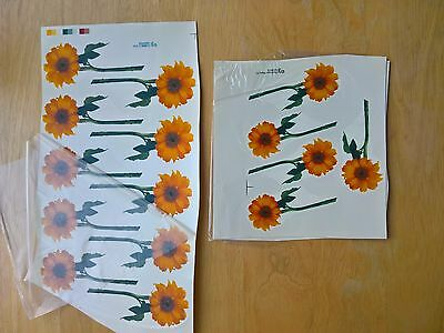 Ceramic Waterslide Decals Small Sheets Orange and Yellow Sunflowers x 2