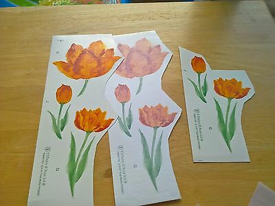 Ceramic Waterslide Decals Yellow Tulips 11 x assorted sizes