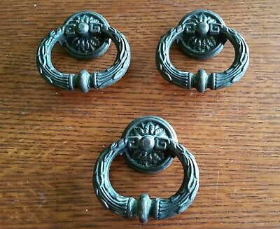 Lot of 3 Antique Brass Fixed Ring Victorian Drawer Pulls Cabinet Handles Vtg