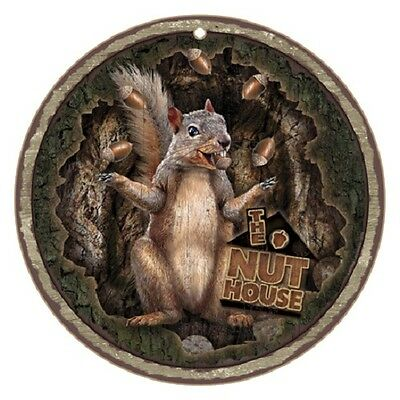 """NUT HOUSE 10"""" across ROUND Wood SQUIRREL JUGGLING NUTS  SIGN wall NOVELTY PLAQUE"""
