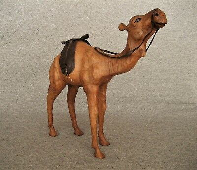 Vintage Leather Wrapped Camel With Saddle & Glass Eyes Figurine