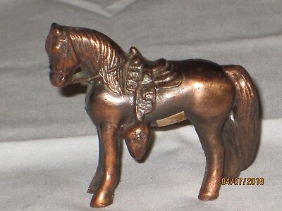 "Vintage 2 1/2"" Bronze Die Cast Pot Metal Horse Figure toy Western saddle"