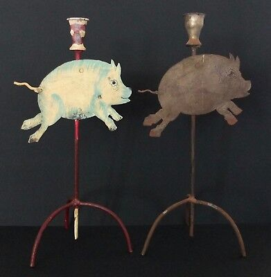 """2 Running Pig Hand Made Folk Art Candle Holders Made Of Metal Just Over 14"""" Tall"""