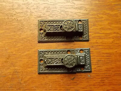 Two Antique Fancy Victorian Cast Iron Cabinet Latches  c1890