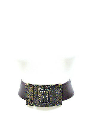 Etro Women's Brown Leather Belt Large Antique Bronze Buckle 80 CM 32 IN Italy