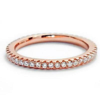 70 Cw 2 Mm Cz Rose Gold Stackable Eternity Bridal Wedding Ring Band