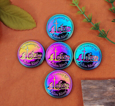 5X Unique Sharp Colorful Plated In Memory Of Fallen Biker Leathercraft Conchos