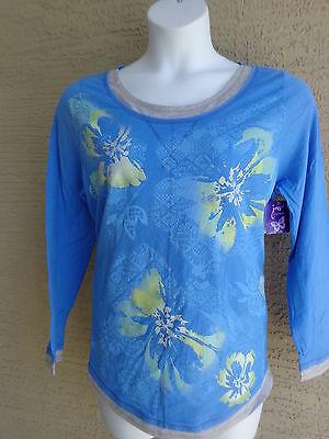145e9df778a NWT Just My Size L S Scoop Neck Glitzy Graphic Twofer Tee Top Blue Multi