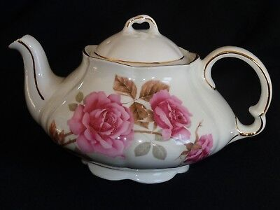 Elgreave Wood And Sons Iornstone Pink Rose Covered Teapot