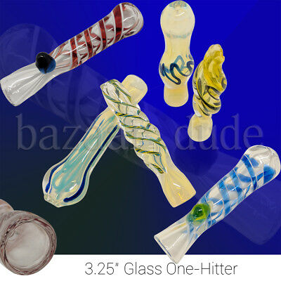 Glass One-Hitter Pipe | TWO PIPES | 3.25 Inch | Assorted Colors | Tobacco