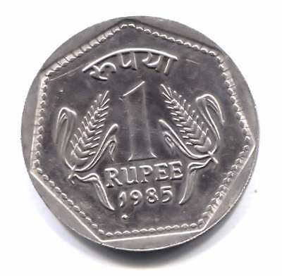 1985 India One Rupee Coin - Multi-Sided Design on Round Coin