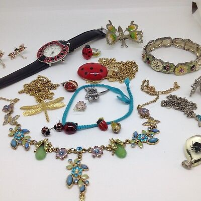Vintage Lot of 17 INSECT COSTUME JEWELRY Rhinestone Enamel Necklace Earrings Bug & LARGE LOT Of Vintage/retro Costume Jewelry Giovanni Napier Monet ...