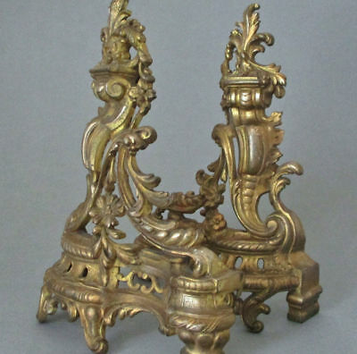 Pr Antique FRENCH Rococo ANDIRON Ornaments Chenets GILT Bronze SCROLLS + Flowers