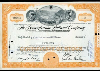 The Pennsylvania Railroad Co.-E.F. Hutton & Co-May 1966-excellent-S192654-signed