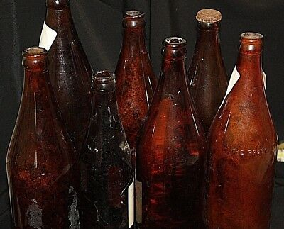 Bulk beer bottles old bottles x 7 M.B.C.V. HORSE SHOE SPADES MARKINGS + OTHERS