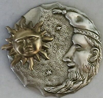 "VINTAGE MAN IN MOON WITH STARS BUTTON~1 3/4"" INCH~Brass~Antique & Vintage Button"