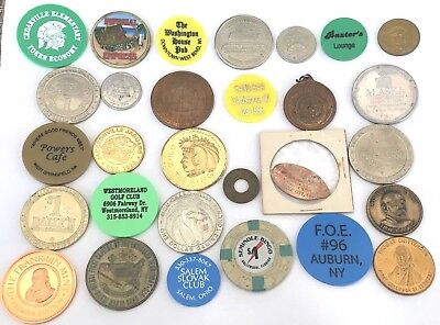 Lot Of 30 Medals Tokens Chips Elongated Exonumia No Duplicates Great Variety