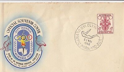 Olympic Games 4d stamp Australia 1956 souvenir cover swimming & diving postmark