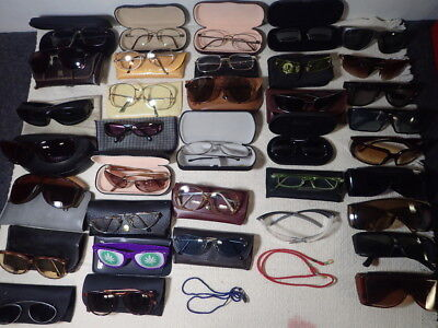 Vintage Box Lot of 36 Eyeglasses Sunglasses & Cases Prescription & Non Hit-Miss