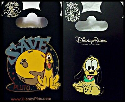 Disney Parks 2 Pin Lot SAVE PLUTO + Baby Pluto cute