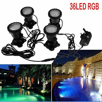 4pcs 36 LED RGB Underwater Light Aquarium Garden Fountain Pond Tank Spotlight UK