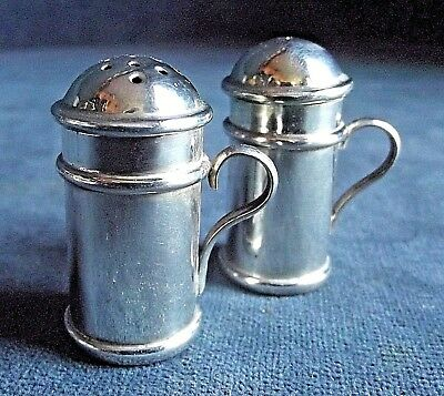 SUPERB Petite ~ SOLID SILVER ~ Salt / Pepper SHAKERS ~ Sfield 1916 ~ Martin Hall