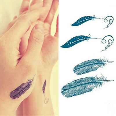 Tatoo Fashion Feather Sticker Tatuaggi Temporanei Rimovibili Body Art