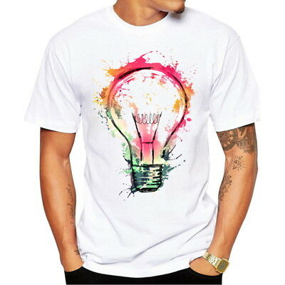 Fashion Men's Colourful Bulb Printed Short Sleeve T-Shirts Casual Crew Neck Tops