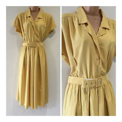 Vintage 1980's Mustard Yellow Cap Sleeve Belted Midi Casual Day Dress Size 16